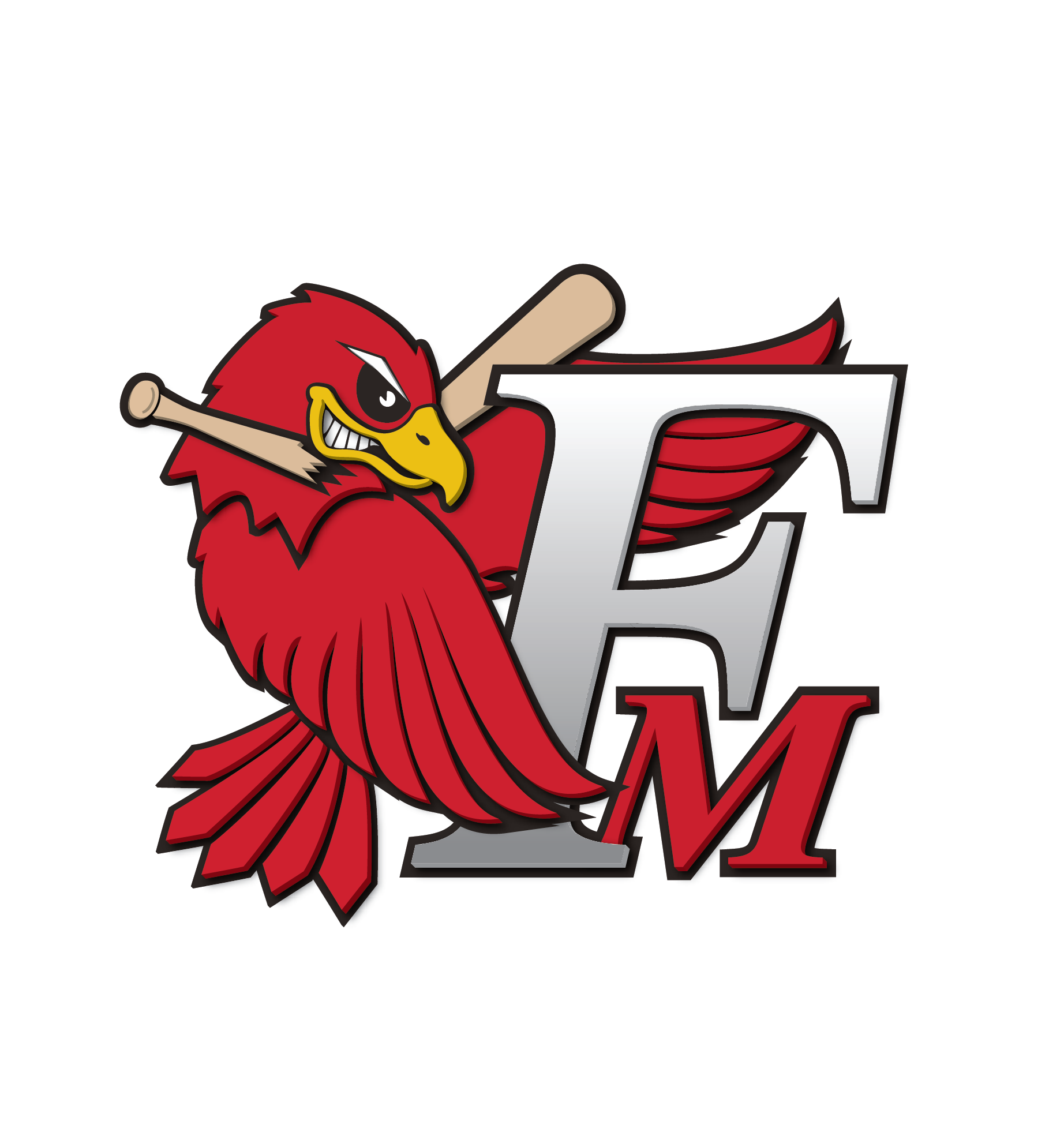 Fmredhawks Fm Bird Logo 3d Outline Copy